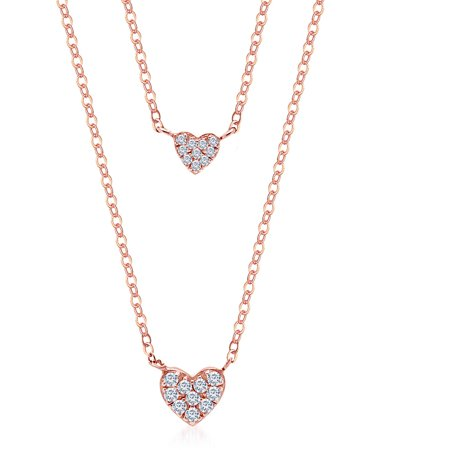 Rose Gold over Sterling Silver Double Layered Cubic Zirconia Heart Necklace