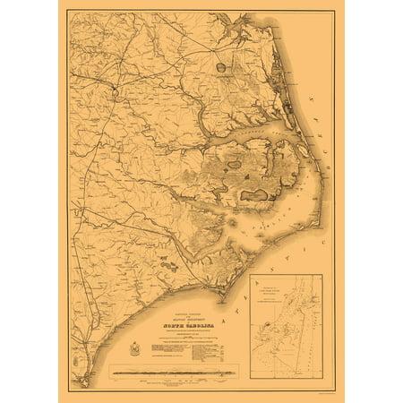 Civil War Map Print   Eastern North Carolina   Us War Department 1862   23 X 32 27