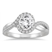 Marquee Jewels  14k White Gold 1 1/6c TDW Diamond Halo Engagement Ring