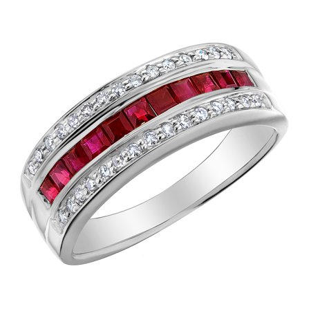 Ruby Ring with Diamonds 1/2 Carat (ctw) in 10K White Gold - image 2 de 2