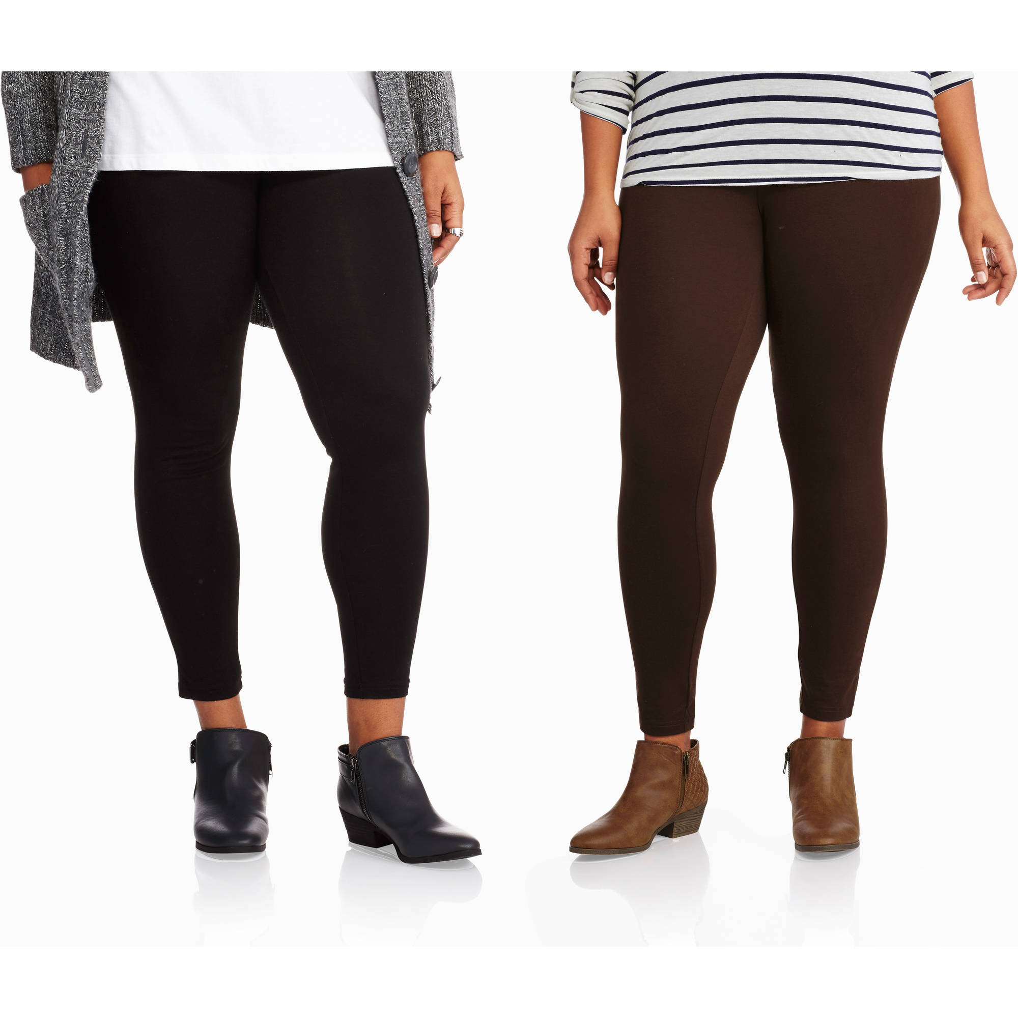 Faded Glory Women's Plus-Size Essential Knit Leggings, 2pk