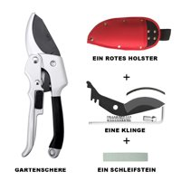 Silver Black Secateurs Pruner Cutting Blade A Range of grinding stone A Red Holster