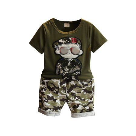 2Pcs Toddler Kids Baby Boy Camouflage T-Shirt Tops+Shorts Clothes Set Outfit](Clearance Toddler Boy Clothes)