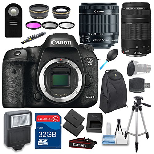 Canon EOS 7D Mark II DSLR Holiday Camera Bundle with EF-S 18-55mm IS STM Lens + EF 75-300mm III Telephoto Lens + 32GB Memory Card + Backpack + Tripod & More!
