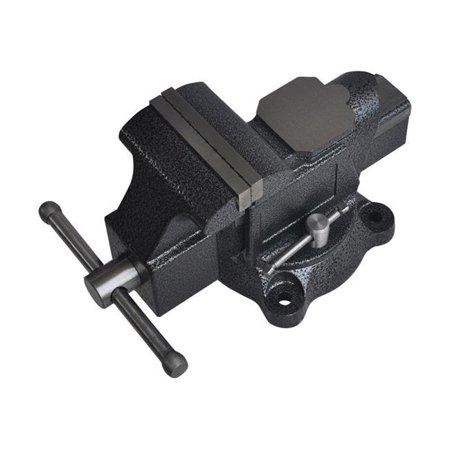 Steel Grip 4 in. Forged Steel Bench Vise Black Swivel Base ()