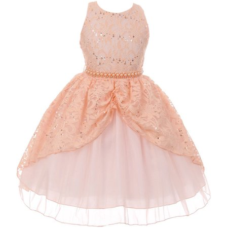 Patch Girl Dress (Little Girl Brocade Lace Sequin Pearl Pageant Easter Wedding Flower Girl Dress Peach 4 CB 1711 BNY Corner)