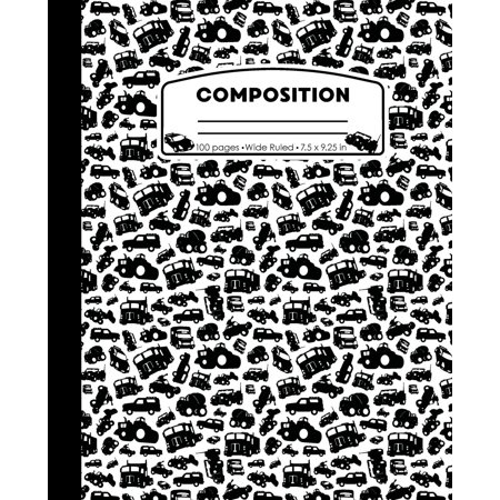 Composition: Cars and Trucks White and Black Marble Composition Notebook. Ninjas Wide Ruled Book 7.5 x 9.25 in, 100 pages, journal for boys or girls, kids, elementary school students and (Fastback White Composition)