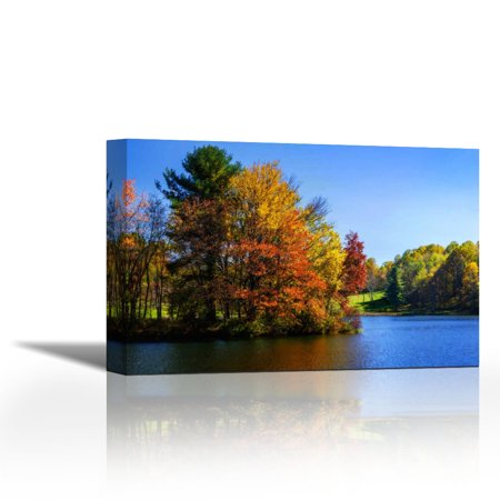 Peaks Of Otter Lake IV - Contemporary Fine Art Giclee on Canvas Gallery Wrap - wall décor - Art painting - 34 x 23 Inch - Ready to Hang