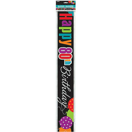 Birthday Cheer 80th Birthday Foil Banner, 12'