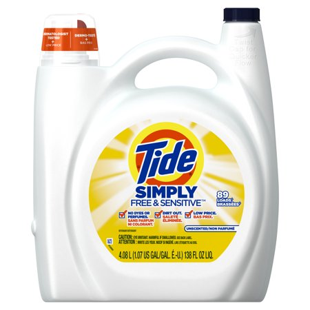 Tide Simply Free & Sensitive Liquid Laundry Detergent, 138 oz., 89