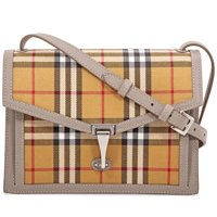 Burberry Small Vintage Check and Leather Crossbody Bag (Taupe Brown)