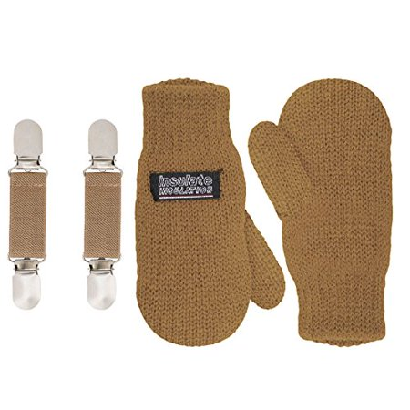 SANREMO Unisex Kids Toddler Knitted Fleece Lined Warm Winter Mittens and Mitten Clips Set (1-3 Years, Camel)