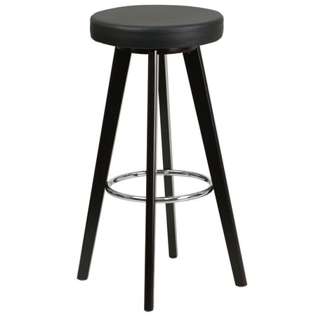 Flash Furniture Trenton Series 29'' High Contemporary Cappuccino Wood Barstool with Black Vinyl