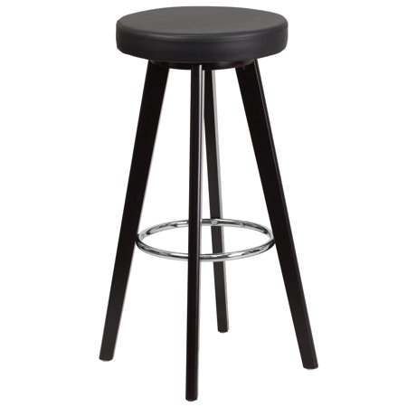 Flash Furniture Trenton Series 29'' High Contemporary Cappuccino Wood Barstool with Black Vinyl Seat Black Wood Bar Stools