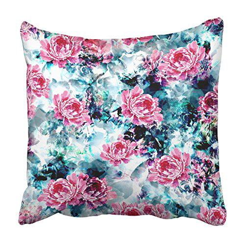 CMFUN Digital Watercolor Peony Floral Bright Magenta Pink Purple Crimson Flowers Pillowcase Cushion Cover 18x18 inch