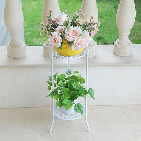 Indoor/Outdoor 2-Tier Metal Flower Stand Shelf Holder Decorative Plant Stand Rack Pot w/Tray Design Garden & Home Black - Walmart.com