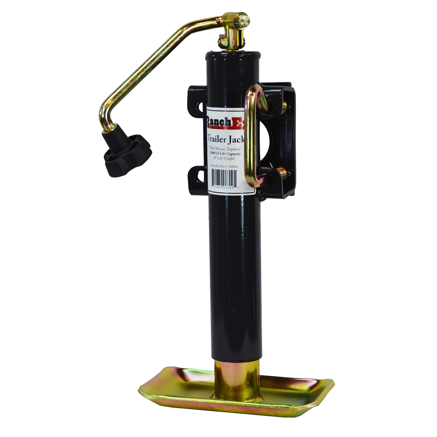 """RanchEx Flange (weld) Mount Top wind Trailer Jack, 5,000 lb. Lift Capacity, 10"""" Lift Height by RanchEx"""