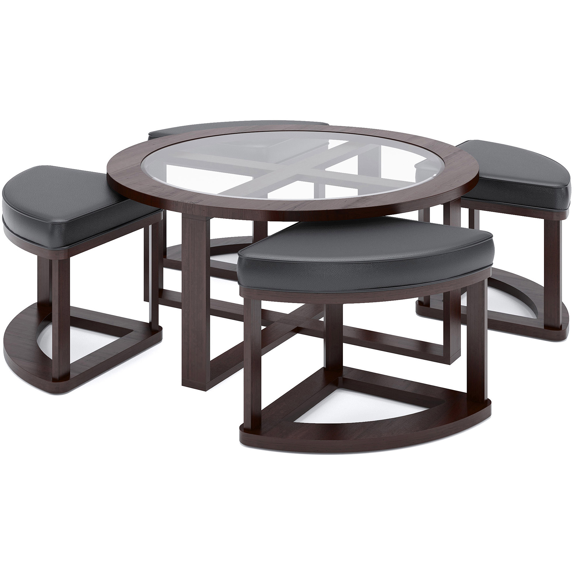 CorLiving Belgrove Stained Coffee Table with 4 Stools Dark