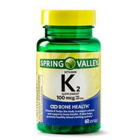 Spring Valley Vitamin K2 Softgels, 100 mcg, 60 Count