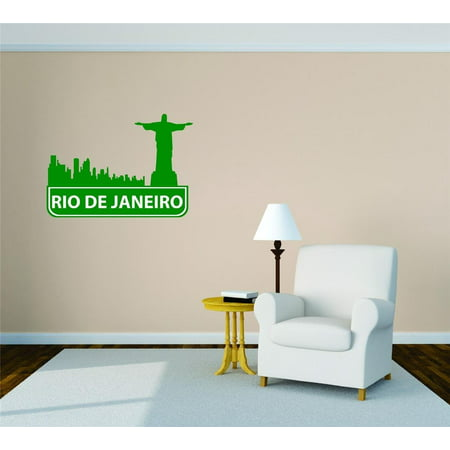 Custom City Wall Map - Custom Wall Decal Rio De Janeiro Brazil United States Major City Geographical Map Landmark - Vinyl Wall Decal - 30x30