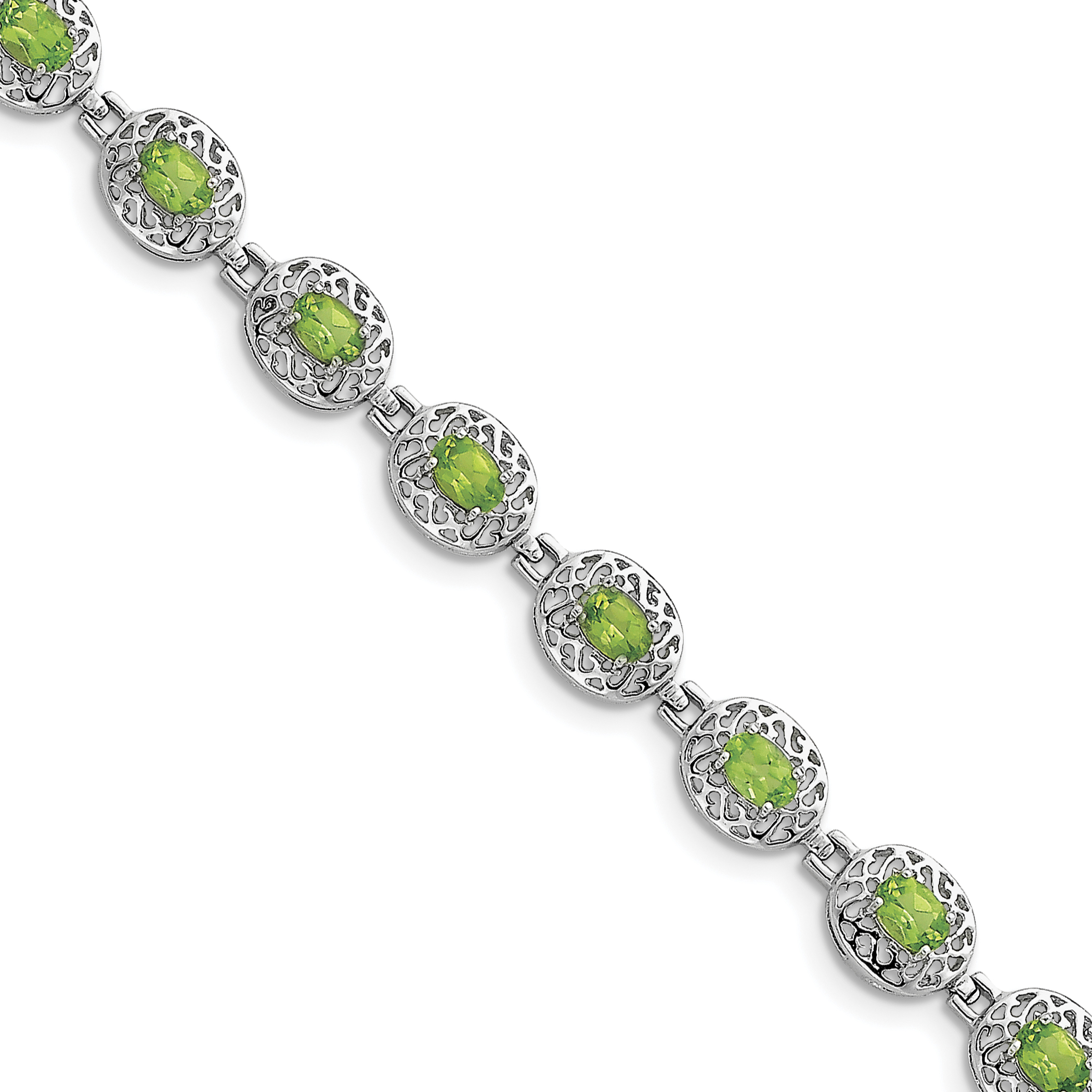 Roy Rose Jewelry Sterling Silver Peridot Filigree Bracelet ~ Length 7'' inches by