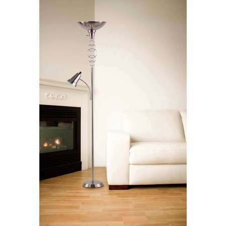 - Legacy Home Collection Torchiere with Adjustable Goosneck Reading Light, Brushed Nickel