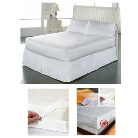 Fabric Twin Size Zippered Mattress Cover Waterproof Bed