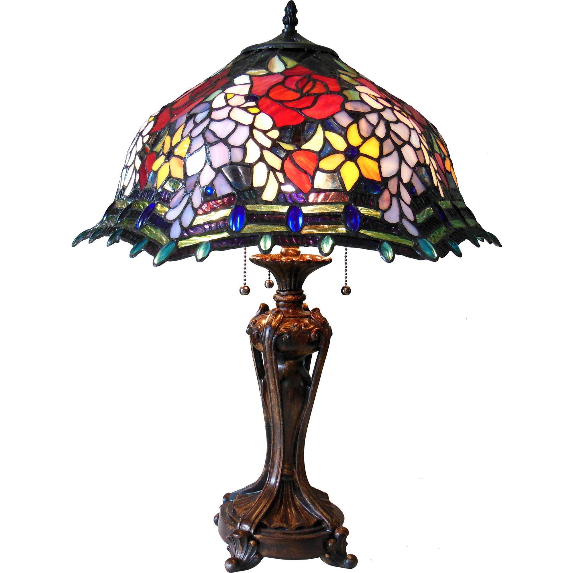 Chloe Lighting Carrell Tiffany Style 3 Light Roses Floor