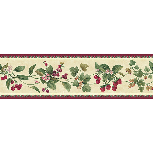 Blue Mountain Floral and Berry Wallpaper Border, Burgundy/Beige