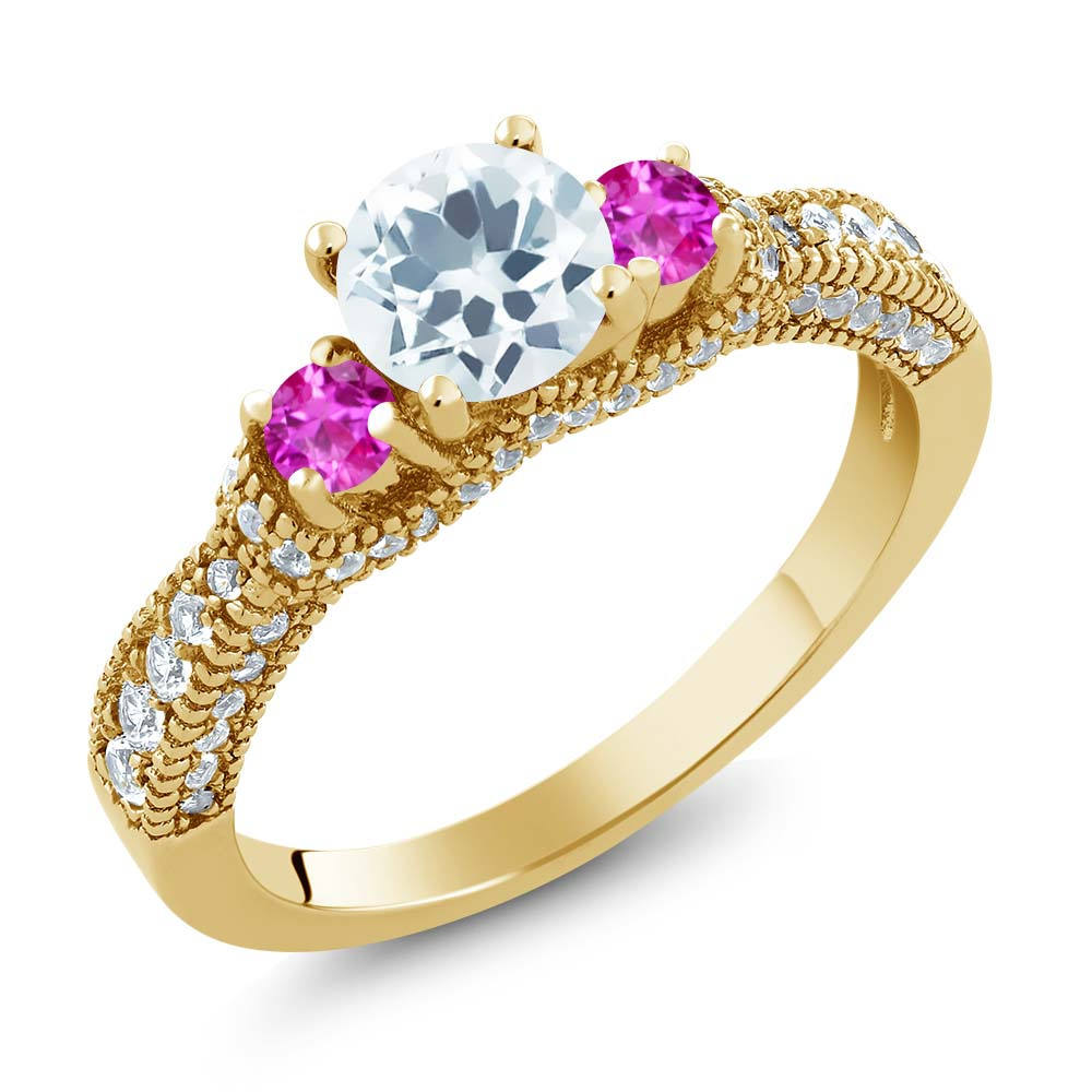 1.65 Ct Sky Blue Aquamarine Pink Sapphire 18K Yellow Gold Plated Silver Ring by