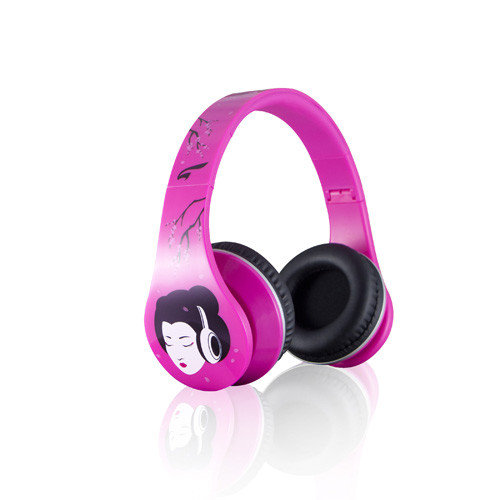 Urban Zen Fashion Headphones with Full Size Hard Carrying Case - Geisha Pink