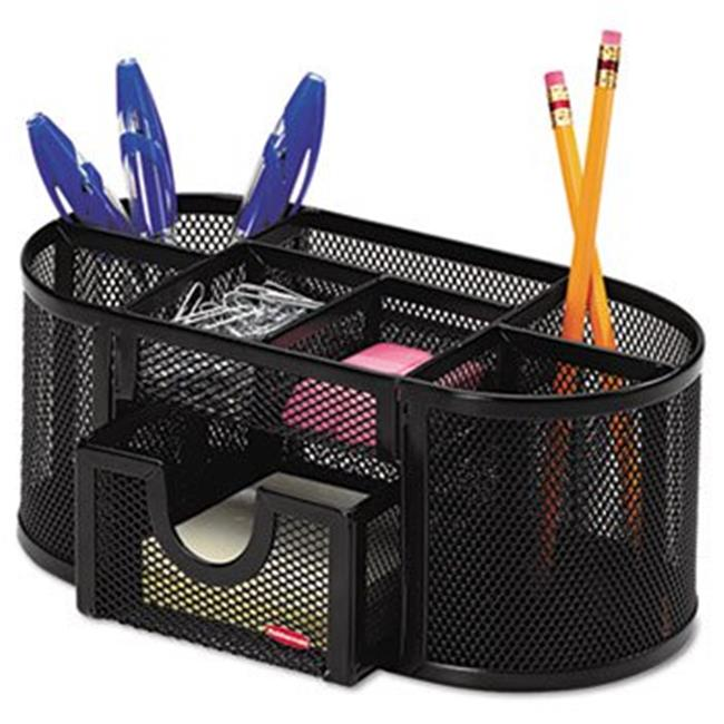 Rolodex 1746466 Mesh Pencil Cup Organizer, Four Compartments, Steel, 9 1/3 x 4 1/2 x 4, Black