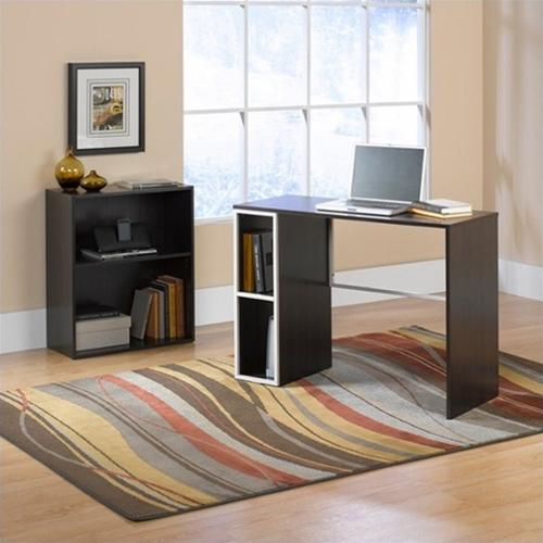 Sauder Studio Edge Treble Desk and Bookcase value bundle, Twine / Cocoa Oak