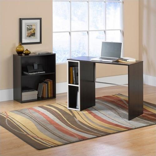 Sauder Studio Edge Treble Desk and Bookcase value bundle, Twine / Cocoa Oak