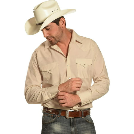 Ely Cattleman Men's Long Sleeve Solid Western Shirt Big And Tall - 15201905-89T Tll