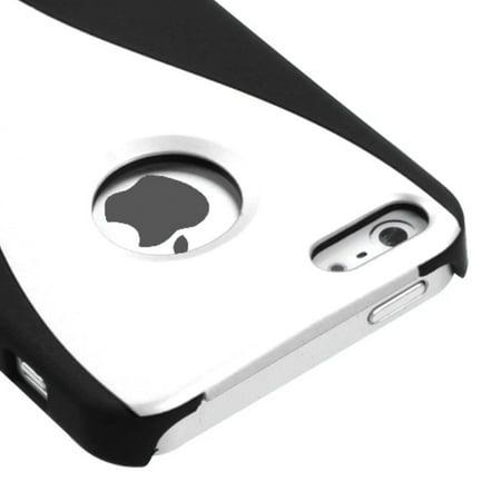 Insten White/Black Rubber Wave Back Cover Case For Apple iPhone SE 5 5G - image 2 of 4