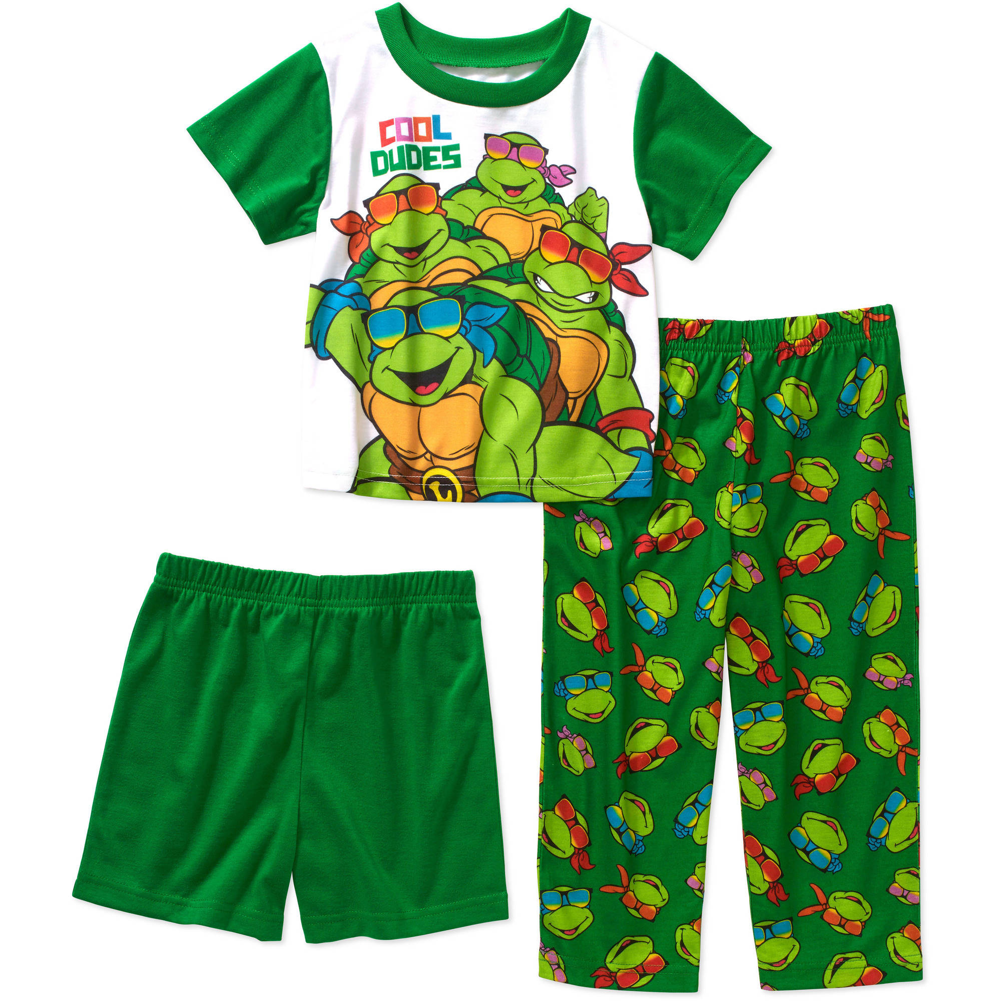 Teenage Mutant Ninja Turtles Baby Toddler Boy Short Sleeve 3-Piece Sleepwear Set