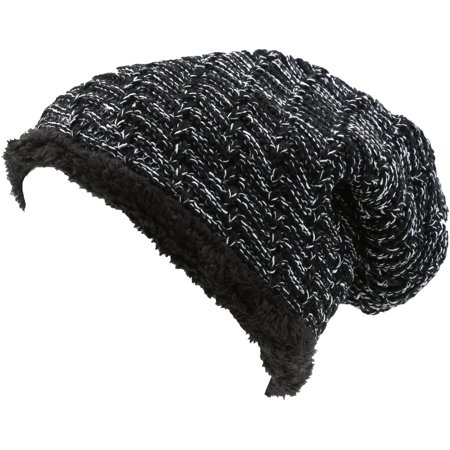 Sakkas Veloce Tall Long Heathered Faux Fur Shearling Lined Unisex Beanie Hat - Black - OS