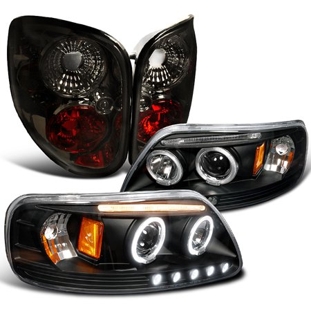 Spec-D Tuning For 1997-2000 Ford F150 Flareside Halo Led Black Projector Headlight + Smoke Tail Brake Lamps (Left+Right) 1997 1998 1999 2000