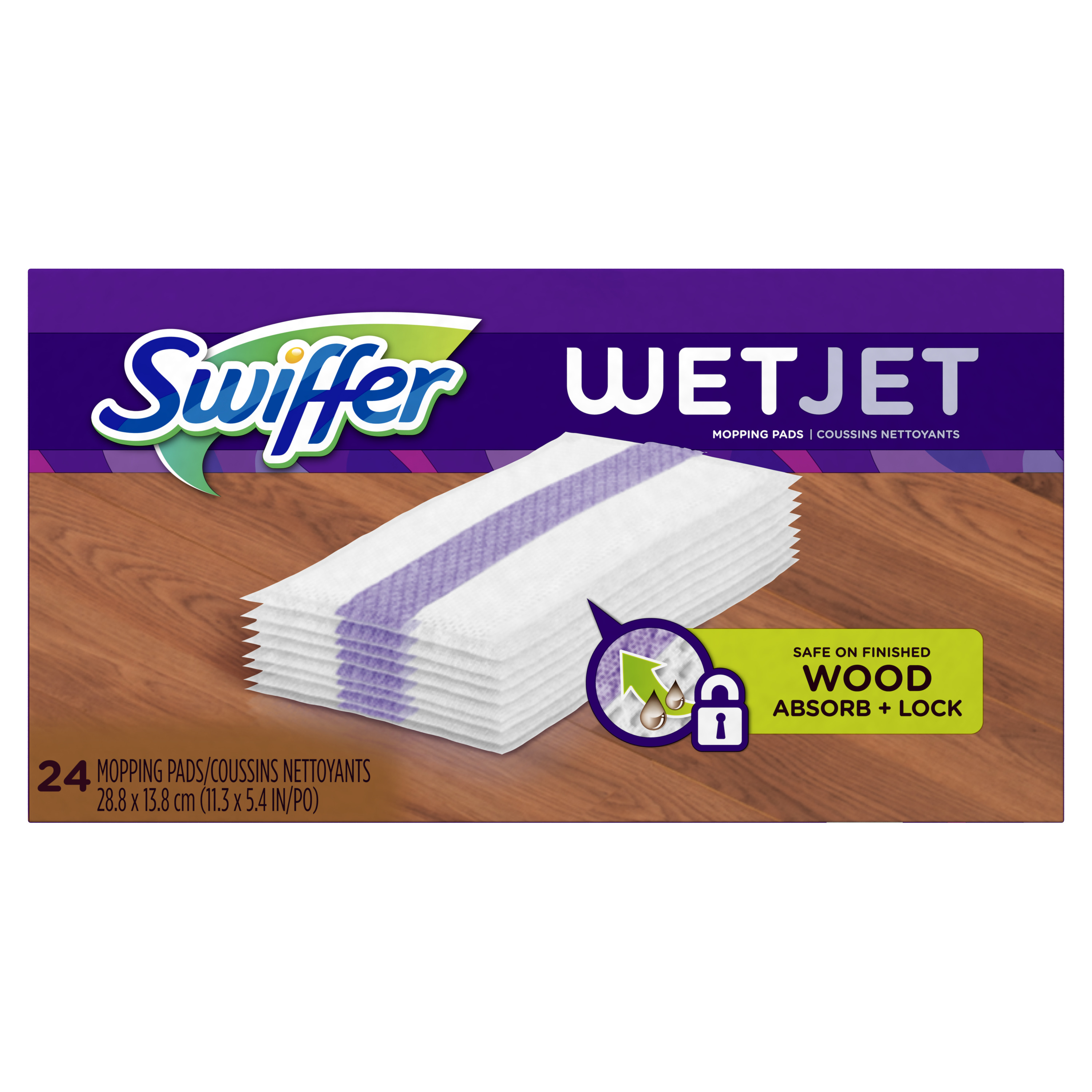 Swiffer WetJet Hardwood Floor Cleaner Spray Mop Wood Pad Refill, 24 Count