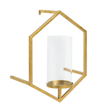 Kate and Laurel - Curran Hexagon Metal Sconce Wall Candle Holder, with Glass Pillar, Gold