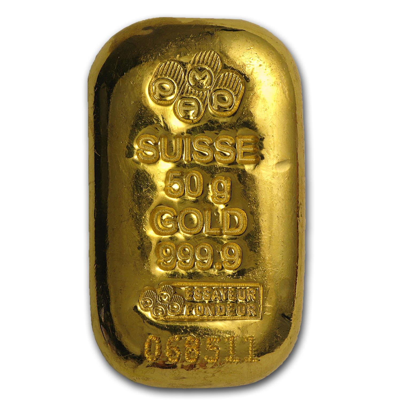 50 Gram Gold Bar Pamp Suisse Cast W