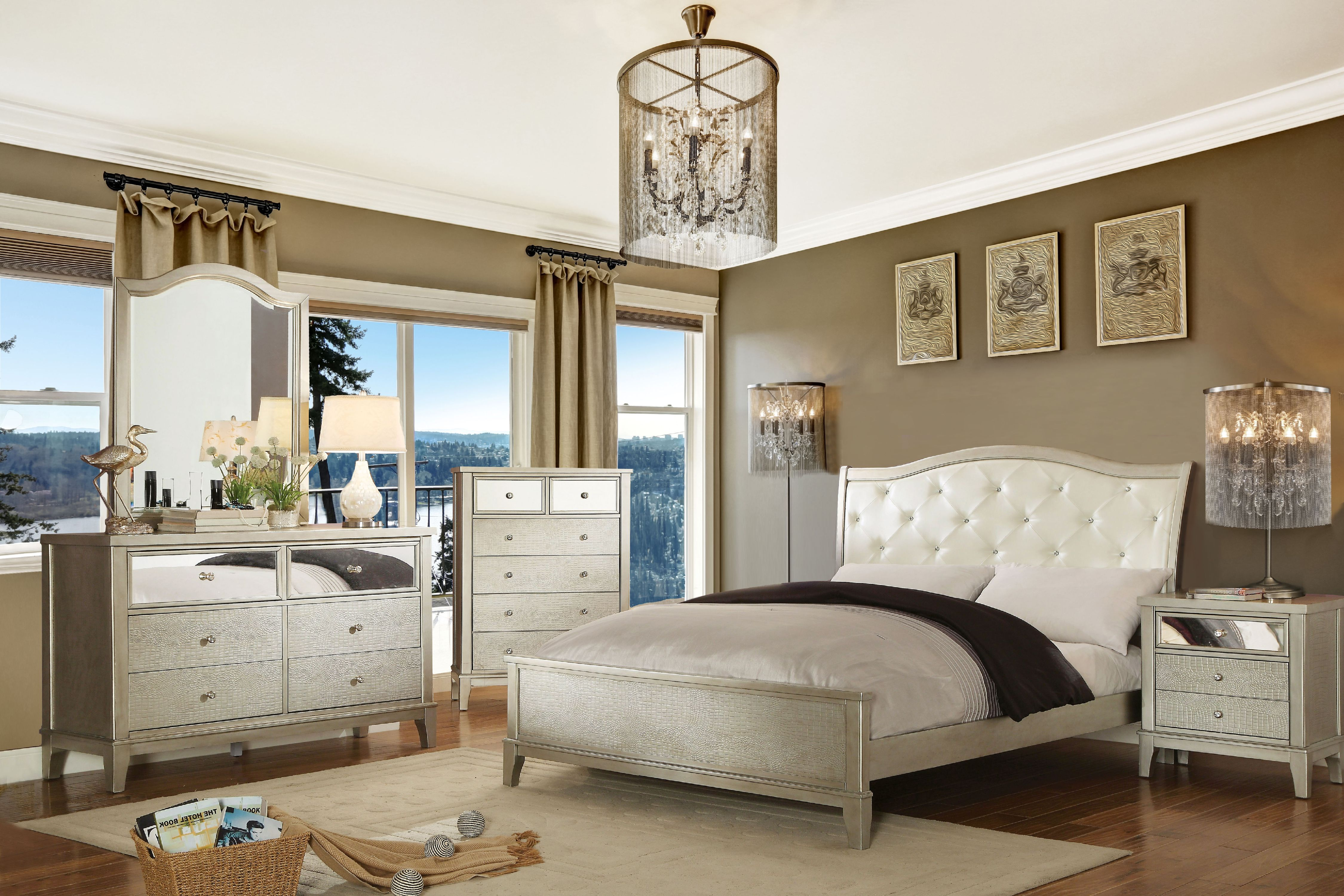 Furniture of America Malayah Contemporary Style 4-Piece Full Size Bedroom Set, Silver by Furniture of America