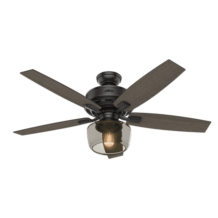 52 Hunter Bennett With Globe Light Matte Black Ceiling Fan Led Kit And Remote Control