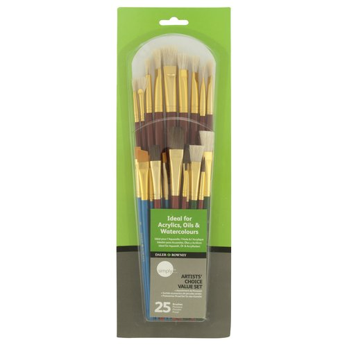Daler-Rowney Simply Artists' Choice Value Brush Set, 25pk
