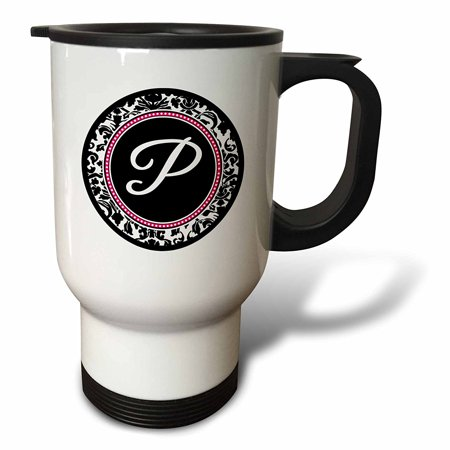 3dRose Letter P stylish monogrammed circle - girly personal initial personalized black damask with hot pink, Travel Mug, 14oz, Stainless Steel - Personalized Photo Travel Mugs