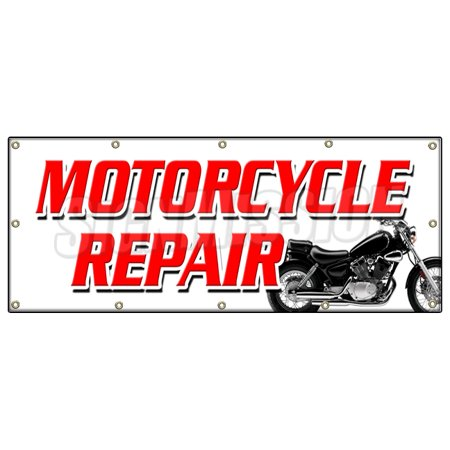 Image of MOTORCYCLE REPAIR BANNER SIGN tech service cycle repair all brands sale