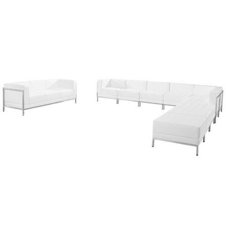 Flash Furniture 10 Piece Leather Reception Sofa Set in White ()