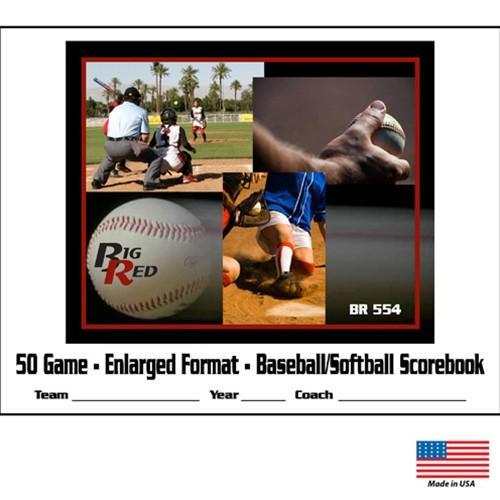 Big Red Enlarged Format Baseball Softball Scorebook, 12 Player   50 Game by