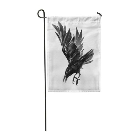 Airborne Flight - SIDONKU Air Drawing of Diving Crow Sketch Bird in Flight Airborne Garden Flag Decorative Flag House Banner 28x40 inch